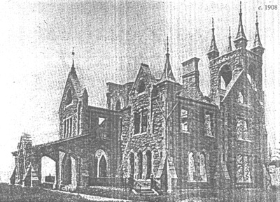 Cunningham mansion after a fire in early 1900s
