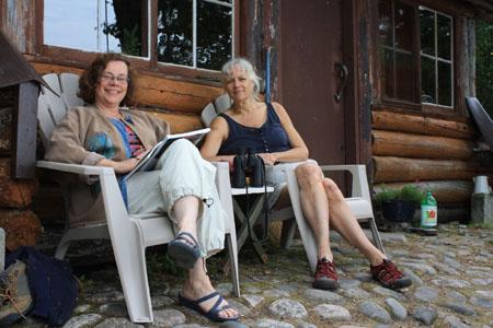 Nancy & Jackie at Laughing Brook cabin