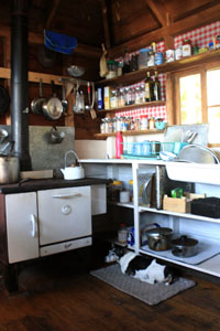 Kitchen in Laughing Brook cabin